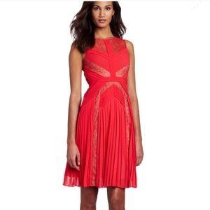 BCBGMaxAzria Raya Red Berry Pleated Dress